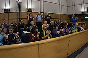 It's a YES, the fans cheer the decision  at the planning application meeting to redevelop the Plough Lane site into a new 20,000 all seater stadium for AFC Wimbledon at Merton Civic Centre, Morden, United Kingdom on 10 December 2015. Photo by Stuart Butcher. The joint application is lodged by Galliard Homes and AFC Wimbledon.
