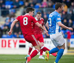 Aberdeen's Ryan Christie scoring their first goal. half  time : St Johnstone 0 v 2 Aberdeen. SPFL Ladbrokes Premiership game played 15/4/2017 at St Johnstone's home ground, McDiarmid Park.