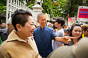 "22 JUNE 2011 - BANGKOK, THAILAND: CHAMLONG SRIMAUNG, a Yellow Shirt leader and organizer of the vote ""no"" campaign, works the crowd a PAD rally in Bangkok on Wednesday, June 22. The PAD (People's Alliance for Democracy) or Yellow Shirts, as they are popularly called, has called for a ""No"" vote in Thailand's national election, scheduled for July 3. PAD leadership hopes the no vote will negate the vote of Yingluck Shinawatra, leader of the Pheua Thai party. Yingluck is the youngest sister of exiled former Prime Minister Thaksin Shinawatra, deposed by a military coup in 2006. Yingluck is currently leading in opinion polls, running well ahead of incumbent Prime Minister Abhisit Vejjajiva, head of the Democrat party, which in one form or another has ruled Thailand for most of the last 60 years.     Photo by Jack Kurtz"