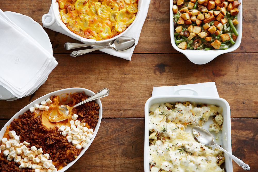 All Things Sweet Potato Casserole, Squash Souffle; Garden Green Bean Casserole; Cauliflower Gratin. Around the Southern Table Cookbook by Rebecca Lang