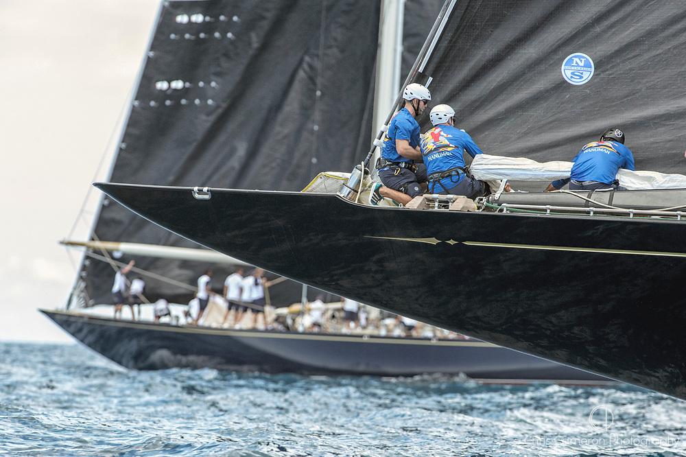 Bermuda, 13th June 2017. America's Cup Superyacht regatta. J Class yachts Topaz J8 and Hanuman, JK6