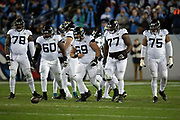 The Jacksonville Jaguars offense breaks from the huddle after calling a play during the week 14 regular season NFL football game against the Tennessee Titans on Thursday, Dec. 6, 2018 in Nashville, Tenn. The Titans won the game 30-9. (©Paul Anthony Spinelli)