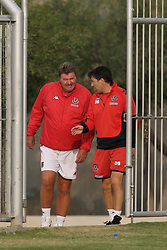 Nicosia, Cyprus - Thursday, October 11, 2007: Wales' manager John Toshack and assistant Dean Saunders arrive for training at the Makario Stadium ahead of their UEFA Euro 2008 Qualifying match against Cyprus in Nicosia. (Photo by David Rawcliffe/Propaganda)