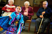 North Star Lawrence, 5, a fancy shawl dancer with The Shooting Star Dance Group, performs Wednesday for residents of Coeur d'Alene Homes to celebrate Native American Heritage Month.