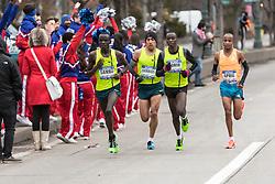 lead pack of men race down Westside Highway, Sambu,  Barrios, Korir, April