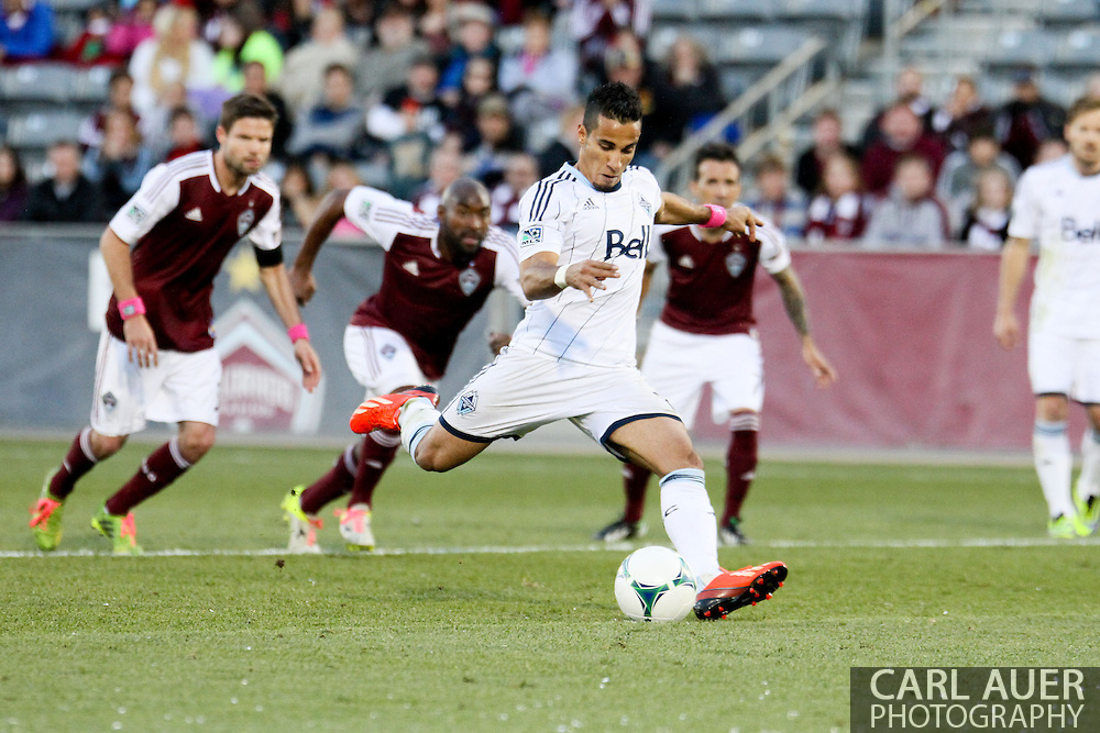 October 19th, 2013:  Vancouver Whitecaps FC forward Camilo Sanvezzo (7) winds up for a second half penalty kick that would tie the game at 2-2 in the MLS Soccer Match between the Vancouver Whitecaps FC and the Colorado Rapids at Dick's Sporting Goods Park in Commerce City, Colorado