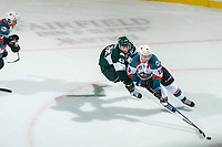 KELOWNA, CANADA - SEPTEMBER 29: Connor Dewar #43 of the Everett Silvertips stick checks Dillon Dube #19 of the Kelowna Rockets from behind as he skates with the puck on September 29, 2017 at Prospera Place in Kelowna, British Columbia, Canada.  (Photo by Marissa Baecker/Shoot the Breeze)  *** Local Caption ***