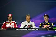 April 15-17, 2016: Chinese Grand Prix, Shanghai, Sebastian Vettel (GER), Ferrari, Nico Rosberg  (GER), Mercedes , Daniil Kvyat, (RUS), Red Bull