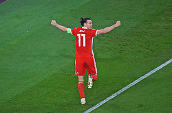 CARDIFF, WALES - Friday, September 6, 2019: Wales' captain Gareth Bale celebrates scoring his sides second goal during the UEFA Euro 2020 Qualifying Group E match between Wales and Azerbaijan at the Cardiff City Stadium. (Pic by Paul Greenwood/Propaganda)