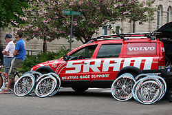 A SRAM Neutral Race Support vehicle provides spare tires and mechanical support during the 2006 Tour of Shenandoah Cycling race, Stage 2, Staunton Virginia, April 25, 2006.