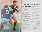 Irish Rugby Football Union, Ireland v Scotland, Five Nations, Landsdowne Road, Dublin, Ireland, Saturday 3rd February, 1990,.03.02.1990, 02.03.1990,..Referee- C Norling, Wales,..Score- Ireland 10 - 13 Scotland,. .Irish Team, ..K Murphy,  Wearing number 15 Irish jersey, Full Back, Cork Constitution Rugby Football Club, Cork, Ireland,..M J Kiernan, Wearing number 14 Irish jersey, Right Wing, Dolphin Rugby Football Club, Cork, Ireland, ..B J Mullin, Wearing number 13 Irish jersey, Right Centre, Blackrock College, Rugby Football Club, Dublin, Ireland, ..D G Irwin, Wearing number 12 Irish jersey, Left Centre,  Instonians Rugby Football Club, Belfast, Northern Ireland,..K D Crossan, Wearing number 11 Irish jersey, Left Wing, Instonians Rugby Football Club, Belfast, Northern Ireland,..B A Smith, Wearing number 10 Irish jersey, Out Half, Oxford University Rugby Football Club, Oxford, England, ..L F P Aherne, Wearing number 9 Irish jersey, Scrum Half, Landsdowne Rugby Football Club, Dublin, Ireland,..N P Mannion, Wearing number 8 Irish jersey, Forward, Corinthians Rugby Football Club, Galway, Ireland,..P J OHara, Wearing number 7 Irish jersey, Forward, Sunday Wells Rugby Football Club, Cork, Ireland, ..P M Matthews, Wearing number 6 Irish jersey, Forward, Wanderers Rugby Football Club, Dublin, Ireland,..W A Anderson, Wearing number 5 Irish jersey, Captain of the Irish team, Forward, Dungannon Rugby Football Club, Tyrone, Northern Ireland, ..D G Lenihan, Wearing number 4 Irish jersey, Forward, Cork Constitution Rugby Football Club, Cork, Ireland,..D C Fitzgerald, Wearing number 3 Irish jersey, Forward, Landsdowne Rugby Football Club, Dublin, Ireland,..J P McDonald, Wearing number 2 Irish jersey, Forward, Malone Rugby Football Club, Belfast, Northern Ireland, ..J J Fitzgerald, Wearing number 1 Irish jersey, Forward, Young Munster Rugby Football Club, Limerick, Ireland,..Scottish Team, ..A G Hastings, Wearing number 15 Scottish jersey, Full Back, London Scottish Rugby Football