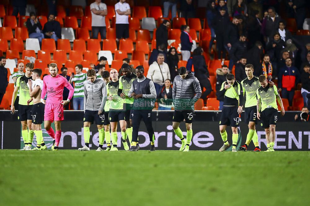 February 21, 2019 - Valencia, Spain - Celtic players after second leg of their last 32 UEFA Europa League match between  Valencia CF v AS Celtic at Mestalla Stadium on February 21, 2019. (Credit Image: © Jose Miguel Fernandez De Velasco/NurPhoto via ZUMA Press)