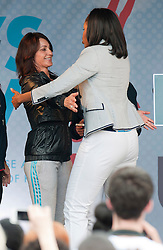 Michelle Obama with former gymnast Nadia Comaneci at an Olympic party at the ambassadors residence  in London, Friday, 27th July 2012  Photo by: i-Images
