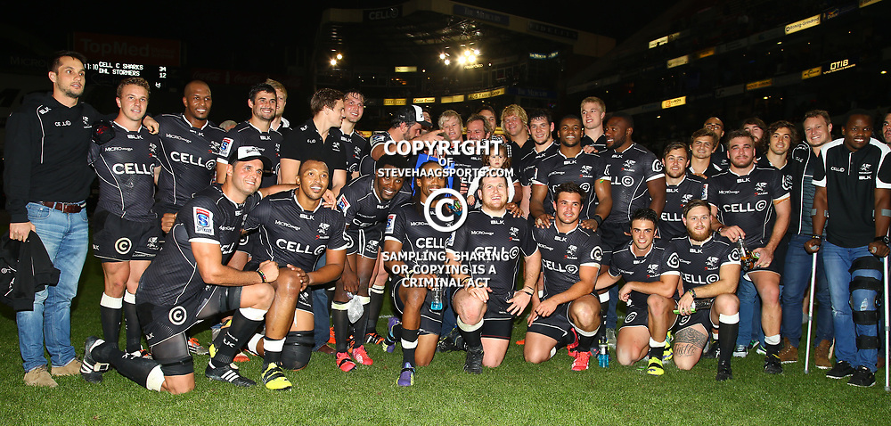 DURBAN, SOUTH AFRICA - JUNE 13:  Cell C Sharks during the Super Rugby match between Cell C Sharks and DHL Stormers at Growthpoint Kings Park on June 13, 2015 in Durban, South Africa. (Photo by Steve Haag/Gallo Images)