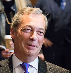 Westminster, London, March 27th 2017. Ahead of the Prime Minister triggering Article 50 next week, UKIP Leader Paul Nuttall sets out six key tests by which the country can judge Theresa May's Brexit negotiations in a keynote speech in London. PICTURED: Nigel Farage attended the event insisting &quot;I'm just a visitor&quot;. CREDIT: &copy;Paul Davey<br /> <br /> &copy;Paul Davey<br /> FOR LICENCING CONTACT: Paul Davey +44 (0) 7966 016 296 paul@pauldaveycreative.co.uk