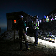 Climbers prepare for a midnight start from Camp Muir at 10,188 feet during a summit of Mount Rainier on June 30, 2015. The iconic Pacific Northwest volcano is a popular challenge for mountaineers.  (Joshua Trujillo, seattlepi.com)