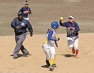 SUNY Orange infielder Nicole Knapic chases a Gloucester County College baserunner during a women's softball game on March 29, 2008.