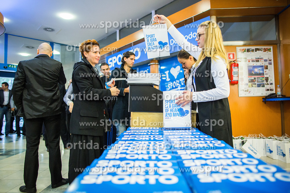 Welcome gifts during Sports marketing and sponsorship conference Sporto 2015, on November 19, 2015 in Hotel Slovenija, Congress centre, Portoroz / Portorose, Slovenia. Photo by Vid Ponikvar / Sportida