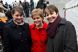 © Licensed to London News Pictures. 26/02/2016. London, UK. L to R Leader of Plaid Cymru LEANNE WOOD, Leader of the SNP NICOLA STURGEON and Green Party MP CAROLINE LUCAS attend  a CND (Campaign for Nuclear Disarmament) rally in central London on February 27, 2016. Jeremy Corbyn has been criticised for publicly supporting the CND campaign while Labour Party policy  backs the renewal of Trident nuclear programme. Photo credit: Ben Cawthra/LNP