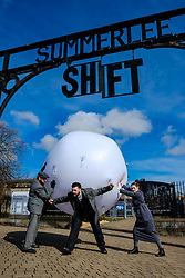 Written and directed by National Theatre of Scotland Associate Director, Simon Sharkey, the Shift  finale at Summerlee Museum is a large-scale, outdoor, multi-media theatrical event featuring  striking video and lighting design and original music and words from punters, poets, playwrights and pen-smiths from across North Lanarkshire. Shiftl tells the stories of the many 'shifts' put in by the workers who built the world and created our future. The show runs at Summerlee Museum in Coatbridge from 29 March to 1 April 2018.<br /> <br /> Stephen Clyde, Daniel Cahill and Katie Barnett<br /> <br /> (c) Andrew Wilson | Edinburgh Elite media