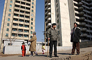 Residential tower block dwellings with barely electricity and poor water are typical of  Pyongyang...North Korea....14 Mar 2004.©Jeremy Horner