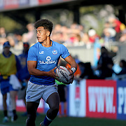 Joe Perez offloads the ball to a teammate for a Manu Samoa try in Samoa's 27-12 victory over Japan, at the Silicon Valley 7's, day 2, Avaya Stadium, San Jose, California, USA.  Photo by Barry Markowitz, 11/06/17
