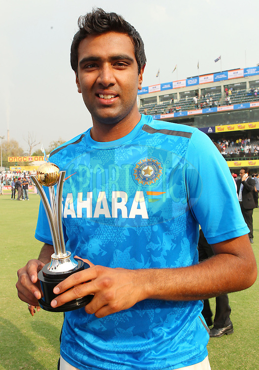 Ravichandran Ashwin of India  with the man of the series award during day 3 of the 4th Test Match between India and Australia held at the Feroz Shah Kotla stadium in Delhi on the 24th March 2013..Photo by Ron Gaunt/BCCI/SPORTZPICS ..Use of this image is subject to the terms and conditions as outlined by the BCCI. These terms can be found by following this link:..http://www.sportzpics.co.za/image/I0000SoRagM2cIEc