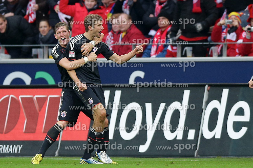 02.02.2013, Coface Arena, Mainz, GER, 1. FBL, 1. FSV Mainz 05 vs FC Bayern Muenchen, 20. Runde, im Bild Jubel Thomas MUELLER (FC Bayern Muenchen - 25) - Bastian SCHWEINSTEIGER (FC Bayern Muenchen - 31) nach dem 0-1 durch Thomas MUELLER (FC Bayern Muenchen - 25) // during the German Bundesliga 20th round match between 1. FSV Mainz 05 and FC Bayern Munich at the Coface Arena, Mainz, Germany on 2013/02/02. EXPA Pictures © 2013, PhotoCredit: EXPA/ Eibner/ Gerry Schmit..***** ATTENTION - OUT OF GER *****