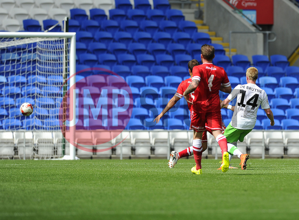 VfL Wolfsburg's Kevin De Bruyne  scores - Photo mandatory by-line: Joe Meredith/JMP - Mobile: 07966 386802 02/08/2014 - SPORT - FOOTBALL - Cardiff - Cardiff City Stadium - Cardiff City v VfL Wolfsburg - Pre-Season Friendly