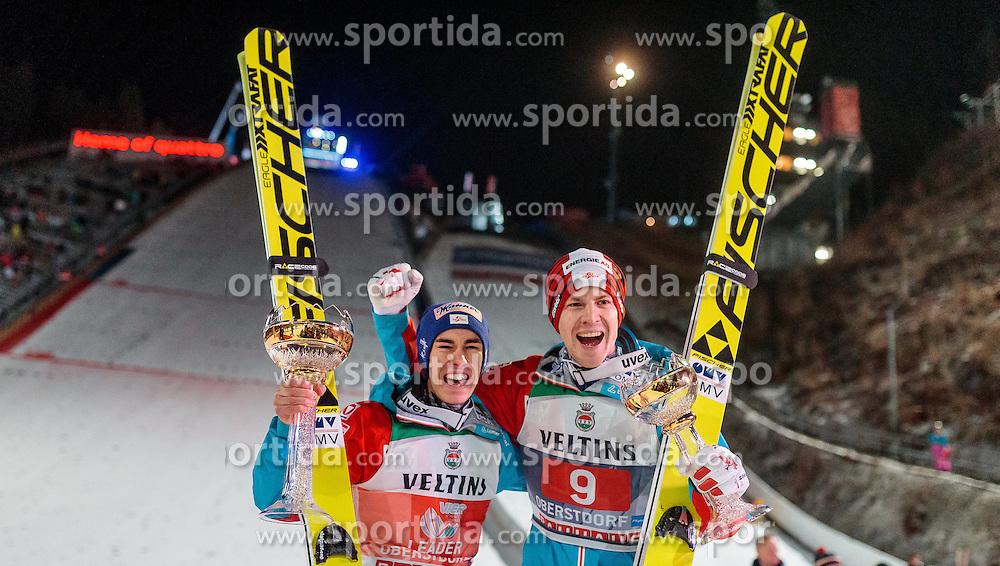 30.12.2016, Schattenbergschanze, Oberstdorf, GER, FIS Weltcup Ski Sprung, Vierschanzentournee, Oberstdorf, Siegerehrung, im Bild Sieger Stefan Kraft (AUT), Michael Hayboeck (AUT, 3. Platz) // Winner Stefan Kraft of Austria and 3rd placed Michael Hayboeck of Austria during the Winner Award Ceremony of the Four Hills Tournament of FIS Ski Jumping World Cup at the Schattenbergschanze in Oberstdorf, Germany on 2016/12/30. EXPA Pictures © 2017, PhotoCredit: EXPA/ JFK