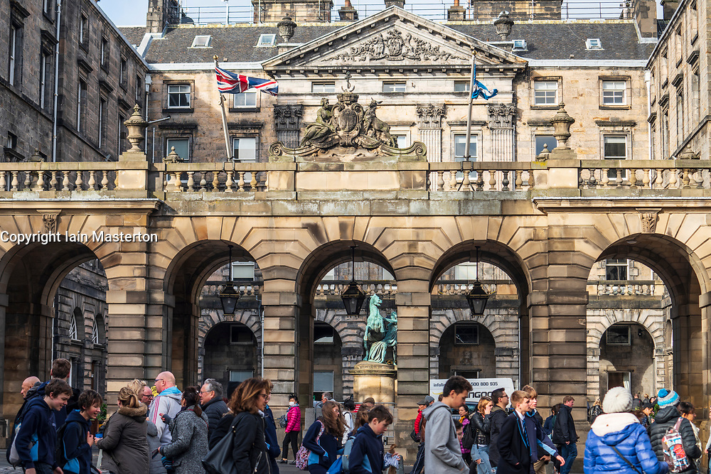 View of Edinburgh City Chambers on the Royal Mile to rear in Edinburgh Old Town, Scotland, UK
