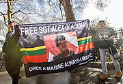 UNITED KINGDOM, London: 05 January 2016 Army veterans parade from Whitehall Gardens to Downing Street this morning in protest against the governments decision to investigate possible human rights abuses of the British Military in Iraq. Veterans gathered in Whitehall Gardens and marched to 10 Downing Street.  Rick Findler / Story