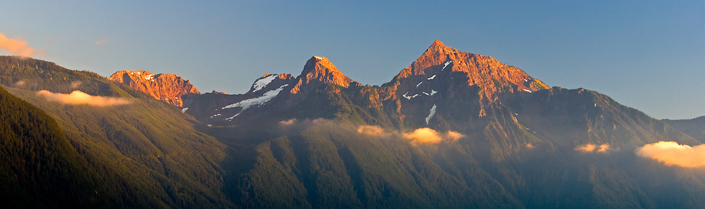 Knight, Lady and Cheam Peaks of Mount Cheam in the Fraser Valley of British Columbia.