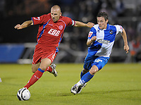 Football<br /> Bristol Rovers vs Aldershot Town, Carling Cup 1st Round, Memorial Stadium, Bristol, UK<br /> Adam Hinshelwood (c) of Aldershot Town and Darryl Duffy of Bristol Rovers <br /> 11/08/2009<br /> Credit Colorsport/Dan Rowley