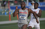 May24, 2018; Sacramento, CA, USA; Cameron Burrell of Houston wins 100m heat in 10.02 for the top time during the NCAA West Preliminary at Hornet Stadium.