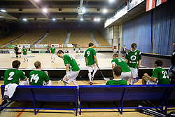 Bench of FBK Olimpija during match for fifth place between Downtown Tigers (FIN) and FBK Olimpija (SLO)  in Floorball Slo Open 2012, on August 26, 2012 in Ljubljana, Slovenia.  (Photo by Matic Klansek Velej / Sportida.com)