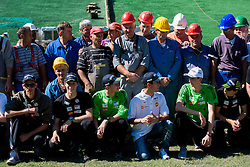 Workers with Jure Sinkovec, Jurij Tepes, Dejan Judez, Jernej Damjan, Mitja Meznar and Nejc Dezman at media day of Slovenian Ski jumping team during construction of two new ski jumping hills HS 135 and HS 105, on September 18, 2012 in Planica, Slovenia. (Photo By Vid Ponikvar / Sportida)