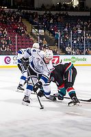 KELOWNA, CANADA - NOVEMBER 23:  Kaid Oliver #34 of the Victoria Royals wins the face off against the Kelowna Rockets on November 23, 2018 at Prospera Place in Kelowna, British Columbia, Canada.  (Photo by Marissa Baecker/Shoot the Breeze)