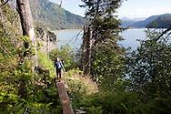 Stephanie Haynes hiking on the Saddle and Alpine Ridge trail in Kachemak Bay State Park, near Homer, Alaska.