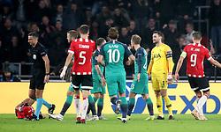 Tottenham Hotspur goalkeeper Hugo Lloris (second right) reacts after being sent-off by match referee Slavko Vincic (second left)