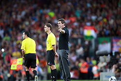 Tito Vilanova instructs his players from the touchline. Barcelona v Real Madrid, Supercopa first leg, Camp Nou, Barcelona, 23rd August 2012. .Eoin Mundow/Cleva Media