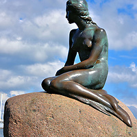 Little Mermaid Statue in Copenhagen, Denmark<br />