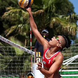 BLOEMFONTEIN, SOUTH AFRICA - DECEMBER 11: Sheana-Alice Abrahams of South-Africa in the match between Nicola Wenhold and Judith Augoustides of South-Africa                                                      vs Sheana-Alice Abrahams and Liezle Peterson of South-Africa during Day 3 of the FIVB Mangaung Open on December 11, 2014 in Bloemfontein, South Africa.  (Photo by Steve Haag/Getty Images for FIVB)