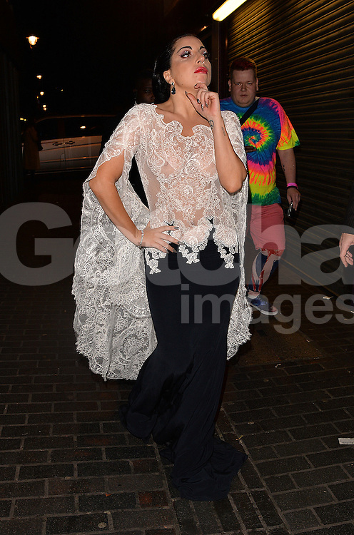 Singer Lady Gaga enjoys at night out at The Box club after her gig at The O2 in London, UK. 24/10/2014<br />
