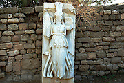 Statue of Nike, Roman victory goddess, Ashkelon National park, Israel<br /> Ashkelon is built upon the ruins of past civilizations. This was one of five Philistine city-states. The city also plays a role in biblical history as the place where Delilah cut Samson's hair to sap his strength. Ashkelon was also a great trading center because it lay along the Via Maris, the route linking Egypt with Syria and Mesopotamia. The city became a Christian city in the Byzantine period and was captured by the Muslims in 638 C.E. The Crusaders came next in 1153, but were defeated by Saladin. Richard the Lion Heart led the Crusaders back, but they were eventually driven out in 1280 by Sultan Baybars. The city was then abandoned until 1948 when the Jews of the new State of Israel began to rebuild it.