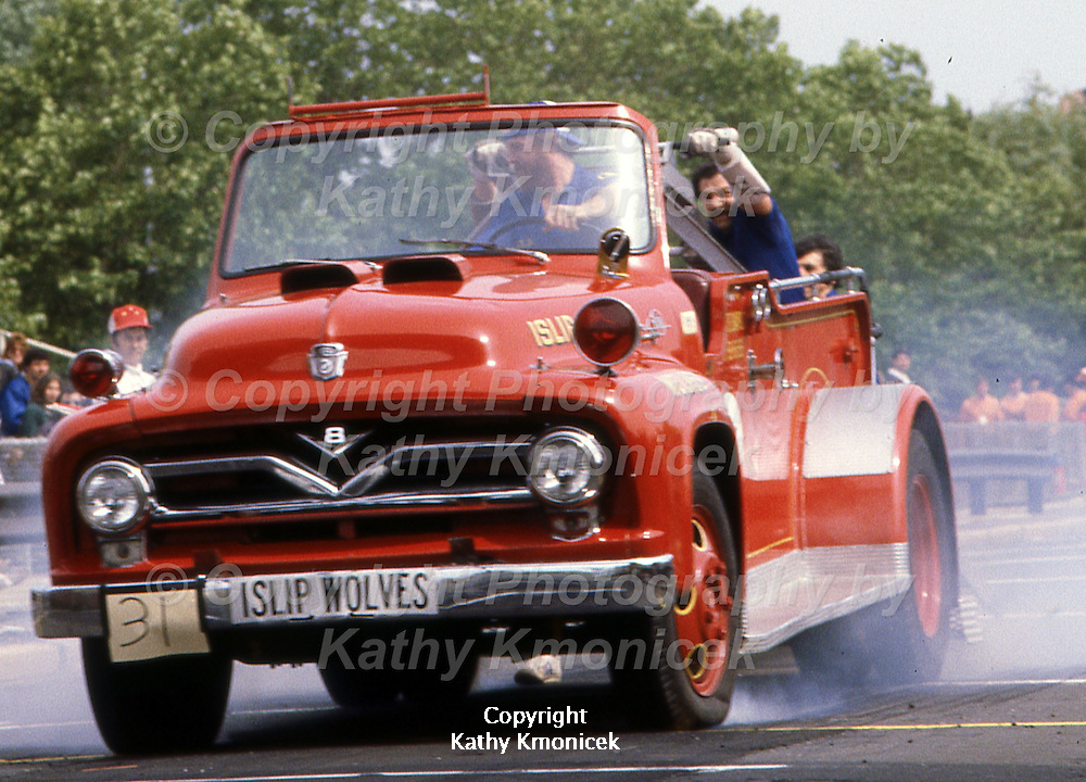 The Islip Fire Department Wolves Racing Team in action in June of 1982.