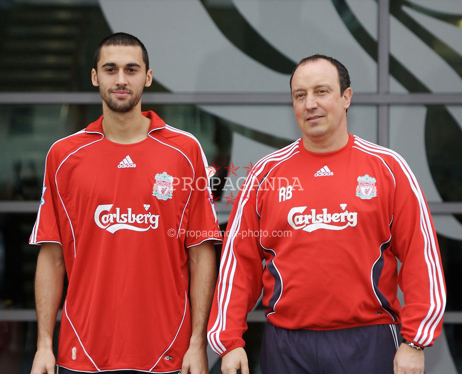 Liverpool, England - Thursday, February 1, 2007: Liverpool FC's manager manager Rafael Benitez with new signing Alvaro Arbeloa, who joined from Spanish side Deportivo Le Coruna. (Pic by David Rawcliffe/Propaganda)