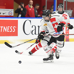 WHITBY, - Dec 13, 2015 -  WJAC Game 2- Team Switzerland vs Team Canada East at the 2015 World Junior A Challenge at the Iroquois Park Recreation Complex, ON. Victor Ojdemark #3 of Team Switzerland skates with the puck during the first period.<br /> (Photo: Andy Corneau / OJHL Images)