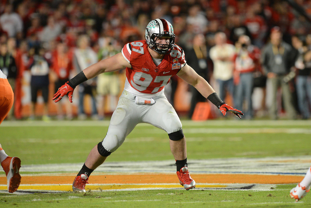 January 3, 2014: Joey Bosa #97 of Ohio State in action during the NCAA football game between the Clemson Tigers and the Ohio State Buckeyes at the 2014 Orange Bowl in Miami Gardens, Florida. The Tigers defeated the Buckeyes 40-35.