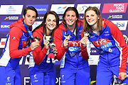 Marie Wattel, Charlotte Bonnet, Margaux Fabre and Beryl Gastaldello for France compete and win the Gold medal on Women's 4X100 m Freestyle relay during the Swimming European Championships Glasgow 2018, at Tollcross International Swimming Centre, in Glasgow, Great Britain, Day 2, on August 3, 2018 - Photo Stephane Kempinaire / KMSP / ProSportsImages / DPPI